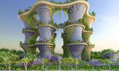 """Most urban centers have a bad rap for pollution and energy consumption, but the cities of the future could be very different. Vincent Callebaut unveiled designs for a self-sustaining urban utopia that not only grows organic food, but also produces more energy than it consumes in a closed-loop system. Proposed for India's new Jaypee city, the urban farming eco-neighborhood, called Hyperions, inserts lush """"agritectural"""" garden towers into a neighborhood notoriously choked by concrete and…"""