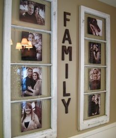 Family photo collage using old glass door or window frames.