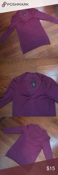 Nwot ny & co. Purple knit top Nwot New York & co. Purple 3/4 sleeved knit top. Never worn. Cute twist design at neck. New York & Company Tops