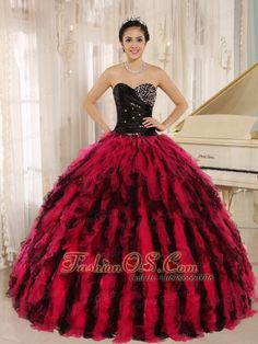 2feb907c43 Beaded and Ruffled Sweetheart For Black and Hot Pink Quinceanera Dress In  Kihei City Hawaii http