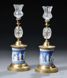 Wedgwood blue and white Jasperware candlesticks.