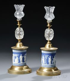 Wedgwood blue and white Jasperware candlesticks.