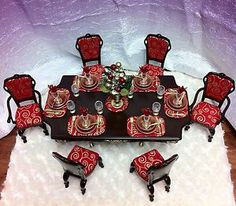 OOAK BARBIE DINING ROOM 1:6 SCALE FURNITURE TABLE CHAIRS DINNERWARE ACCESSORIES