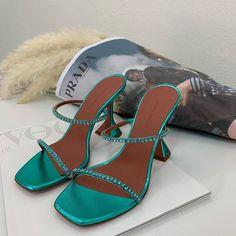 "Michele Franzese Moda on Instagram: ""Like a princess // AMINA MUADDI @aminamuaddi  #aminamuaddi #shoes #luxury #green #women #day #shoes #michelefranzesemoda�"