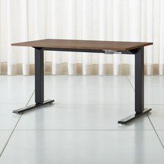 Humanscale Float Sit Stand 48 Walnut Desk Crate And Barrel In 2020 Walnut Desks Adjustable Height Table Innovation Design