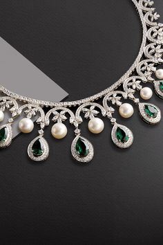 Kantilal Chhotalal, India's largest supplier of solitaires and diamond jewellery, also extends its expertise to bridal repertoires. Indian Jewelry Sets, Indian Wedding Jewelry, Bridal Jewelry Sets, India Jewelry, Fancy Jewellery, Stylish Jewelry, Real Diamond Necklace, Emerald Necklace, Bridal Jewellery Inspiration
