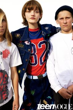 Peyton wears an Ashish jacket and jeans. 10ft Single by Stella Dallas vintage shirt. Kaufman's Army & Navy belt, $6.
