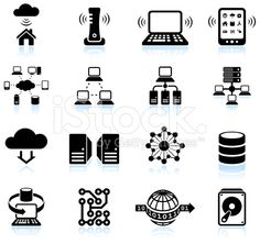 Cloud computing modern technology black and white vector icon set royalty-free stock vector art
