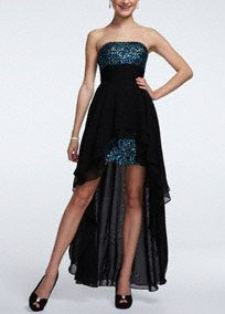 You will be fun, flirty, and oh so daring in this gorgeous sequin and chiffon prom dress! Strapless bodice features sparkling and dramatic sequin detail. Ruched empire waist creates a stunning silhouette. Chiffon high low overlay adds a unique and eye-catching touch. Available in stores and online in Black/Multi and Sapphire. Sherbert is available online only. Fully lined. Back zip. Imported polyester. Spot clean. Available in Plus sizes as Style 211S29500W.A popular neckline for brides…