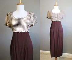 Daisy Trim Dress Vintage Check Maxi 90s by InTheHammockVintage