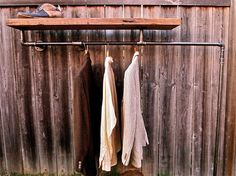 Diy clothes rack on wall furniture inspiring rustic wall mounted coat rack design with pipe and . diy clothes rack on wall Diy Coat Rack, Coat Rack Shelf, Wall Mounted Coat Rack, Pipe Rack, Back To Nature, Diy Clothes Rack, Rack Design, Pipe Furniture, Furniture Projects