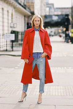Red wool coat street style
