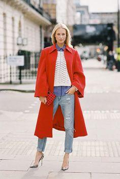 Red wool coat street style