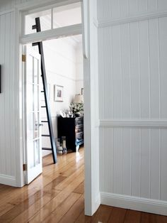 Chic Modernized Interior through Complete Renovation : Striking Hall Design Glossy Wood Floor Queenslander Renovation Interior Barn Doors, Interior And Exterior, Interior Design, Interior Walls, Interior Architecture, Brisbane, Queenslander House, Hall Design, Windows And Doors
