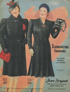 Stout fashions from Lane Bryant winter 1940,-1941.