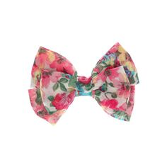 Pink Floral Print Chiffon Hair Bow Clip ($3.50) ❤ liked on Polyvore featuring accessories, hair accessories, bow hair accessories, chiffon hair bows, pink hair bow, floral hair accessories and pink hair accessories