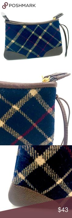 🎁Stocking Stuffer wool/leather wristlet -like new Like new Brooks Brothers navy wool plaid and leather wristlet. Great stocking stuffer. Brooks Brothers Bags Clutches & Wristlets