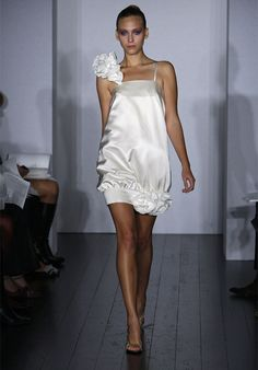 Silky Spaghetti Straps Satin Column Ruffles Mini Wedding Gown ,Short Wedding Dresses,