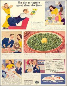 1940 Birds Eye Frozen Foods Original Print Ad Large Single Ad - Between 10 x Vintage Birds, Vintage Prints, Vintage Posters, Vintage Food, Vintage Recipes, Retro Food, Retro Recipes, Vintage Kitchen, Old Advertisements