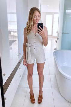 An effortless piece to style up with a wedge or casually with sneakers or slides. {Romper Vici Dolls, Wedge Michael Kors} Summer Outfits Women, Every Woman, Summer Wardrobe, Wedge, Rompers, Michael Kors, Dolls, Sneakers, Womens Fashion
