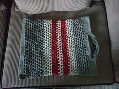 Hand crocheted from recycled waste material from a carpet factory. Gives a whole new meaning to the term carpet bag. Hand Crochet, Crochet Top, Carpet Bag, Reusable Bags, Accessories, Women, Fashion, Moda, Fashion Styles