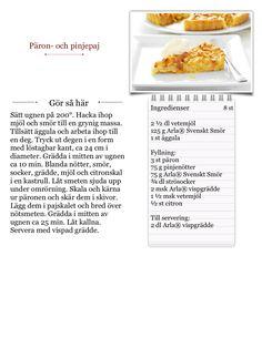Jag gör Päron- och pinjepaj från Arla Köket