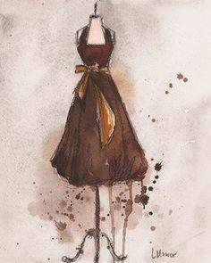 Buy Art For Less 'Brown and Gold' by Lauren Maurer Framed Watercolor Painting Print Frame Color: White Dress Painting, Painting Prints, Watercolor Paintings, Fine Art Prints, Framed Prints, Watercolors, Gold Vintage Dresses, Fine Art Amerika, Watercolor Fashion