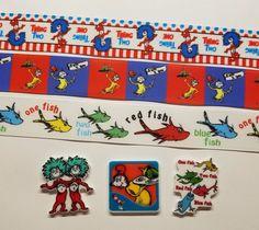 3 Yds & 3 Resin Mix. Lot Dr. Seuss' Inspired Grosgrain Ribbon & Resin #Unbranded
