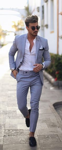 40 casual chic summer wedding outfit ideas for men casual chic ideas men outfit summer wedding new wedding suits men gray bridesmaid dresses ideas Mens Summer Wedding Suits, Summer Wedding Outfits, Summer Outfits Men, Work Outfits, Casual Wedding Outfit For Men, Outfit Summer, Best Man Outfit Wedding, Summer Wear Mens, Mens Summer Wedding Looks