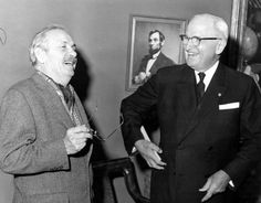 Former President Harry S. Truman shares a laugh with artist Thomas Hart Benton at Mr. Truman's birthday party, May 8, 1960