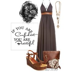 Belted Maxi Dress by bec1098 on Polyvore