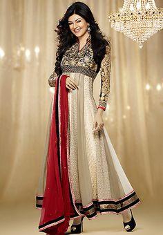 Beige Embellished Dress Material