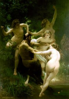 Nymphs and Satyr. 1873. Oil on canvas, 260 × 180 cm. Sterling & Francine Clark Art Institute. Williamstown, Massachusetts, United States.