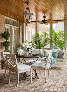 Is everyone patio season ready? It's and we're going back a year to this Country-French style patio designed by Outdoor Rooms, Outdoor Living, Outdoor Decor, Outdoor Sheds, Indoor Outdoor, Enclosed Patio, Brick Flooring, Brick Pavers, Floors