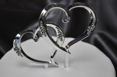 Wedding  Large Double Hearts Diamante Cake Topper - WeddingWish.com.au