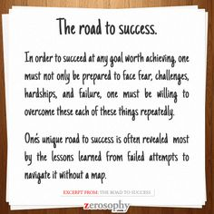 Excerpt from: The road to #success #Zerosophy