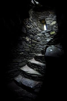 Staircase in the ruins of Dunskey castle, a building which has stood on the cliffs near Portpatrick, Scotland, since the 12th Century, and has been abandoned since the 17th Century.