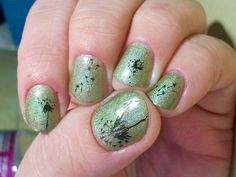 2 coats A England Princess Sabra, stamped with Konad Blackish Gold using VL plate 006