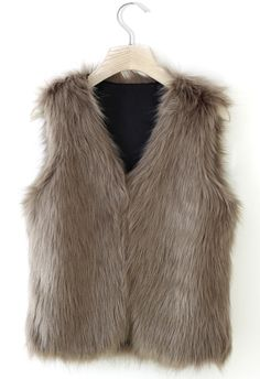 Faux Fur Vest in Camel (faux is the best part) :)