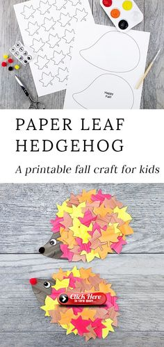 This cute paper leaf hedgehog craft is perfect for fall! Kids of all ages will e… This cute paper leaf hedgehog craft is perfect for fall! Kids of all ages will enjoy using the printable hedgehog template at home or school. Such a fun autumn idea! Kids Crafts, Winter Crafts For Kids, Art For Kids, Arts And Crafts, Autumn Crafts Preschool, Home Craft Ideas, Autumn Art Ideas For Kids, Creative Crafts, Easy Crafts