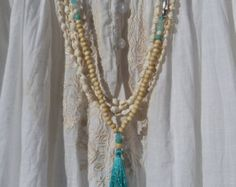beaded tassel necklace - turquoise long tassel necklace - yoga necklace - inspired by buddhist mala prayer beads - yoga by the sea Beaded Tassel Necklace, Tassel Jewelry, Diy Necklace, Beaded Jewelry, Handmade Jewelry, Collar Hippie, Diy Collier, Fru Fru, Turquoise Beads
