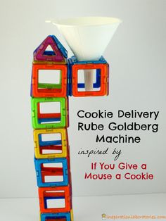 A Rube Goldberg machine inspired by If You Give a Mouse a Cookie by Laura Numeroff - a great way to teach cause and effect and sequencing!