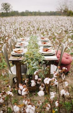 cotton field reception, photo by Julie Paisley http://ruffledblog.com/cotton-field-winter-wedding-ideas #weddingreception #tablescape #venues