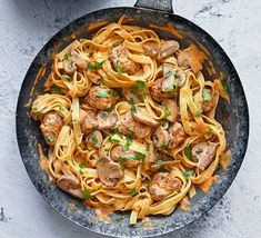 Speedy sausage stroganoff tagliatelle Quick Pasta Recipes, Bbc Good Food Recipes, Dinner Recipes, Cooking Recipes, Dinner Ideas, Meal Ideas, Vegan Recipes, Budget Family Meals, Easy Family Dinners