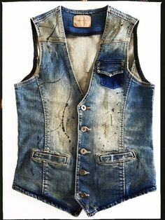 Paint Splashed Denim Vest
