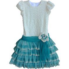 Clarissa Turquoise and Ivory Girls Dress Isobella and Chloe ($67) ❤ liked on Polyvore featuring baby, kid dress and kids