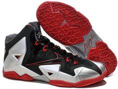 Nike Lebron 11 White Red Black Shoes