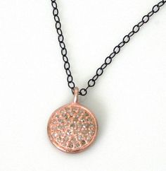 Pave Diamond Rose gold disc necklace/ pave by LaurenBlakeCreations