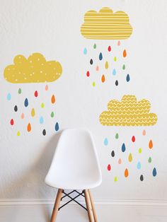 Fun and whimsical wall decals are a quick way to create a gorgeous kids room on the budget - These fun patterns and pops of color will inspire creativity and fun - COLORFUL RAIN Kids Wall Decor, Baby Room Decor, Wall Decals For Kids, Kid Wall Art, Nursery Decor, Room Ideias, Ideas Dormitorios, Wall Stickers Room, Rainbow Room