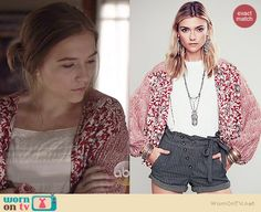 Maddie's red floral printed kimono jacket on Nashville.  Outfit Details: http://wornontv.net/37995/ #Nashville